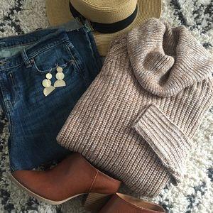 Beige Cowl Neck Sweater